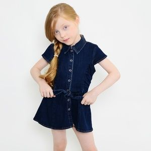 Short Sleeve Dark Denim Button Up Tunic